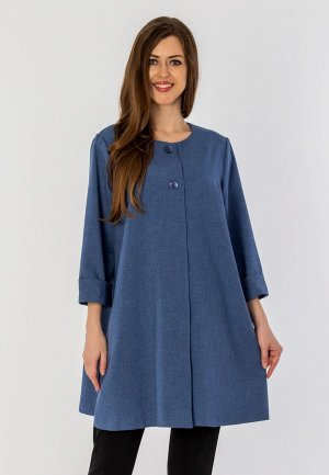 Пальто S&A Style. Цвет: синий