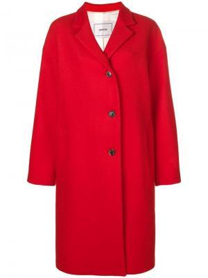 Однобортное пальто в стиле оверсайз Mauro Grifoni. Цвет: красный