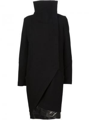 Асимметричное пальто с воротником-воронкой Ilaria Nistri. Цвет: чёрный