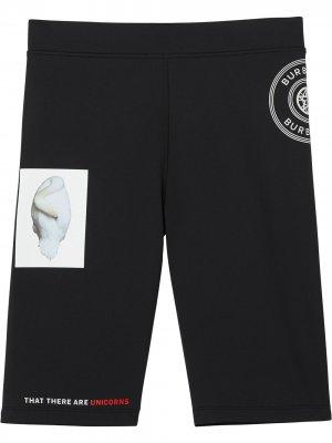 Облегающие шорты с принтом Burberry. Цвет: черный