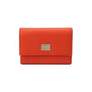 Кожаное портмоне Dolce & Gabbana. Цвет: оранжевый