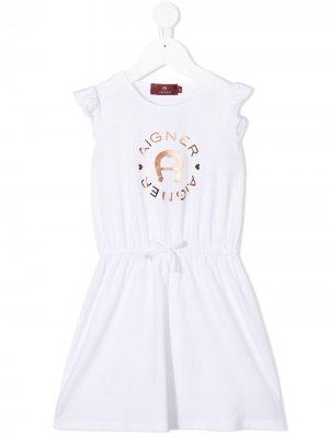 Платье с кулиской и логотипом металлик Aigner Kids. Цвет: белый