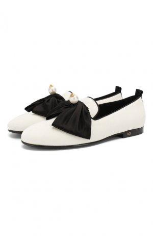 Текстильные слиперы Young Queen Dolce & Gabbana. Цвет: белый
