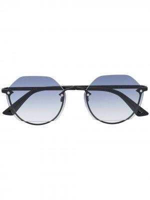 Солнцезащитные очки в круглой оправе Alexander McQueen Eyewear. Цвет: черный