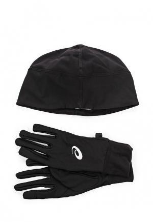 Комплект шапка и перчатки ASICS PERFORMANCE PACK. Цвет: черный