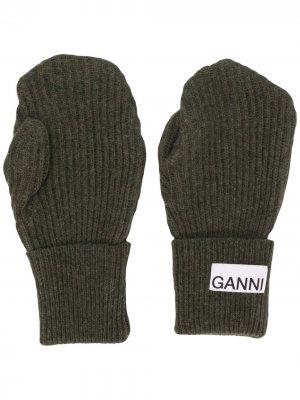 Варежки с нашивкой-логотипом GANNI. Цвет: серый