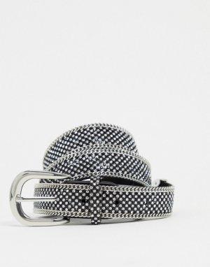 Серебристый ремень в стиле вестерн с заклепками -Серебряный Morgan