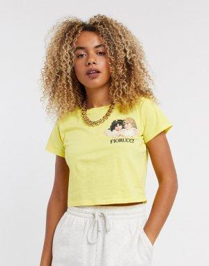 Короткая желтая футболка -Желтый Fiorucci