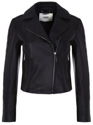 Куртка-косуха кожаная FENDI. Цвет: черный