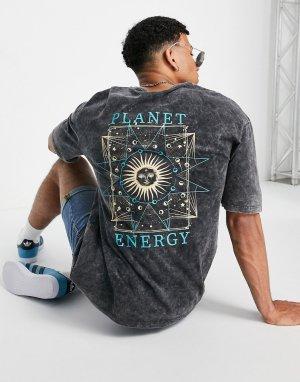 Серая футболка в стиле oversized с принтом Planet Energy на спине Originals-Серый Jack & Jones