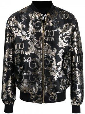 Жаккардовая куртка с узором Logo Baroque Versace Jeans Couture. Цвет: черный