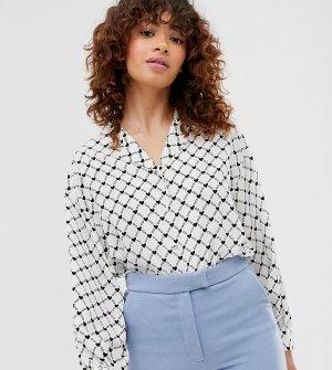 Блузка кремового цвета с V-образным вырезом и принтом -Белый Monki