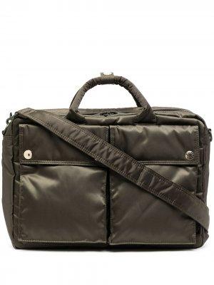 Стеганый портфель из коллаборации с Mackintosh Porter-Yoshida & Co. Цвет: зеленый