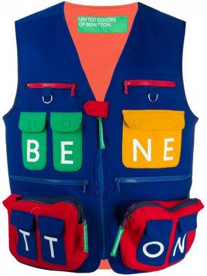 Жилет с карманами карго Benetton. Цвет: синий