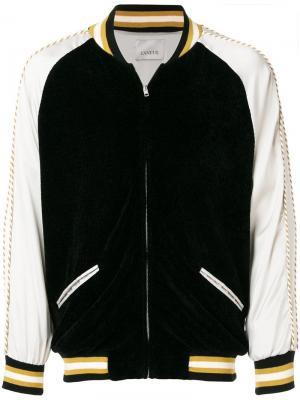 Куртка-бомбер дизайна колор-блок Laneus. Цвет: черный