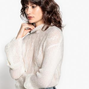 Пуловер-водолазка из мохера с расклешенными рукавами LA REDOUTE COLLECTIONS. Цвет: оранжевый,черный,экрю