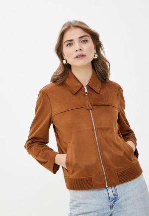 Куртка кожаная s.Oliver. Цвет: коричневый