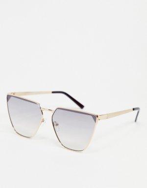 Золотистые солнцезащитные очки с фиолетовыми стеклами и эффектом «омбре» -Золотистый AJ Morgan