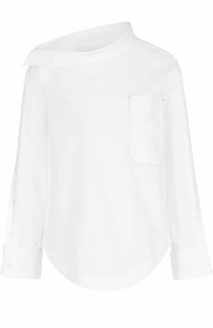 Блуза с асимметричным воротником накладным карманом Aquilano Rimondi. Цвет: белый
