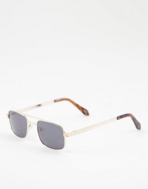 Золотистые солнцезащитные очки в квадратной оправе с дымчатыми линзами и дужкой -Золотистый ASOS DESIGN
