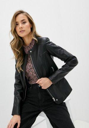 Куртка кожаная Diffoxa. Цвет: черный