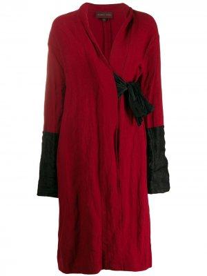 Пальто миди 1990-х годов с поясом Romeo Gigli Pre-Owned. Цвет: красный