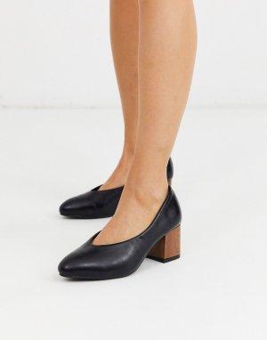 Туфли-лодочки из искусственной кожи на деревянном каблуке -Черный Ichi