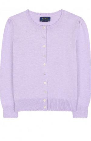 Хлопковый кардиган на пуговицах Polo Ralph Lauren. Цвет: фиолетовый