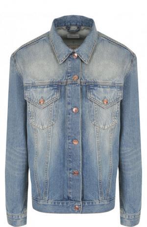 Джинсовая куртка прямого кроя с потертостями Escada Sport. Цвет: голубой