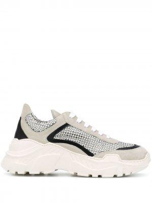 Массивные кроссовки на шнуровке Giambattista Valli. Цвет: серый