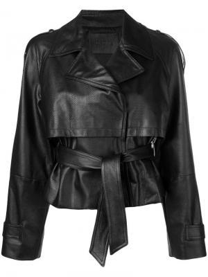 Кожаная куртка с поясом Drome. Цвет: черный