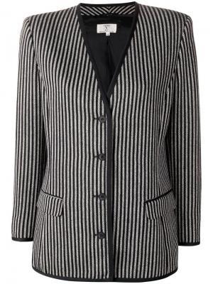 Облегающий пиджак в полоску Valentino Pre-Owned. Цвет: черный