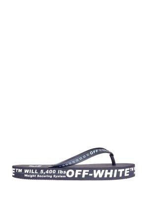 Шлепанцы в стиле логомании с контрастной отделкой OFF-WHITE. Цвет: черный