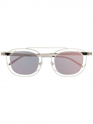 Солнцезащитные очки-авиаторы в квадратной оправе Thierry Lasry. Цвет: серебристый