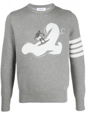 Жаккардовый джемпер Surfer Thom Browne. Цвет: серый
