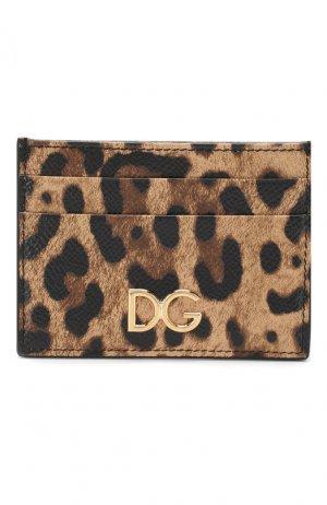 Кожаный футляр для кредитных карт Dolce & Gabbana. Цвет: коричневый