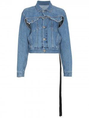 Джинсовая куртка с принтом змеи и прорванной деталью UNRAVEL PROJECT. Цвет: синий