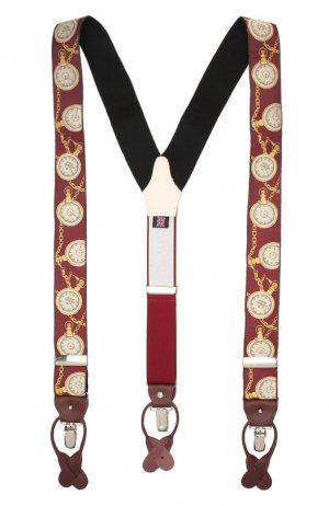 Шелковые подтяжки с кожаной отделкой Albert Thurston. Цвет: красный