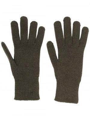 Трикотажные перчатки с нашивкой-логотипом Moncler. Цвет: зеленый