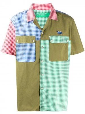 Клетчатая рубашка в технике пэчворк Benetton. Цвет: зеленый
