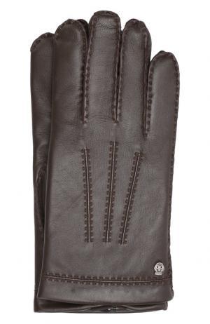 Кожаные перчатки Roeckl. Цвет: темно-коричневый
