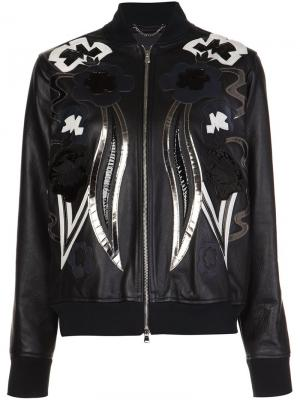 Кожаная куртка-бомбер Diesel Black Gold. Цвет: черный