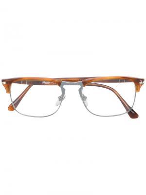 Очки в квадратной оправе Persol. Цвет: коричневый