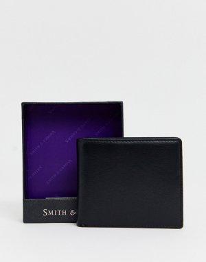 Кожаный бумажник с оранжевой подкладкой Smith & Canova-Черный And Canova