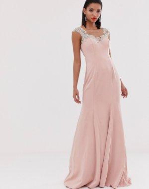 Структурированное платье макси с декорированными бретелями -Розовый Jovani