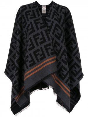 Пончо с V-образным вырезом и логотипом FF Fendi. Цвет: черный