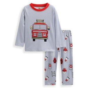 Для мальчиков Пижама с принтом машины SHEIN. Цвет: серый