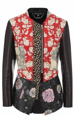 Приталенная кожаная куртка с принтом Alexander McQueen. Цвет: разноцветный