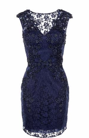 Приталенное мини-платье с вышивкой Basix Black Label. Цвет: темно-синий