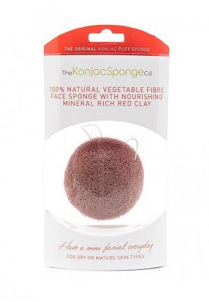 Спонж для очищения лица The Konjac Sponge Co Premium Facial Puff with French Red Clay (премиум-упаковка)